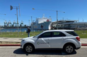 photo of centurylink vehicle in front of USNS Mercy