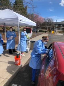 Drive-thru COVID-19 testing at Sky Lakes Medical Center.