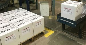 Boxes of hand sanitizer produced at the Muskegon, MI, Honeywell plant