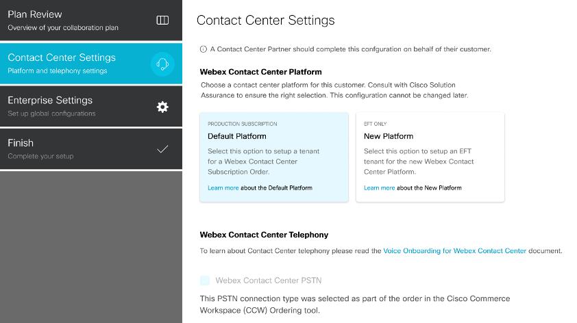 Adding Cisco PSTN for Webex Contact Center via Webex Control Hub