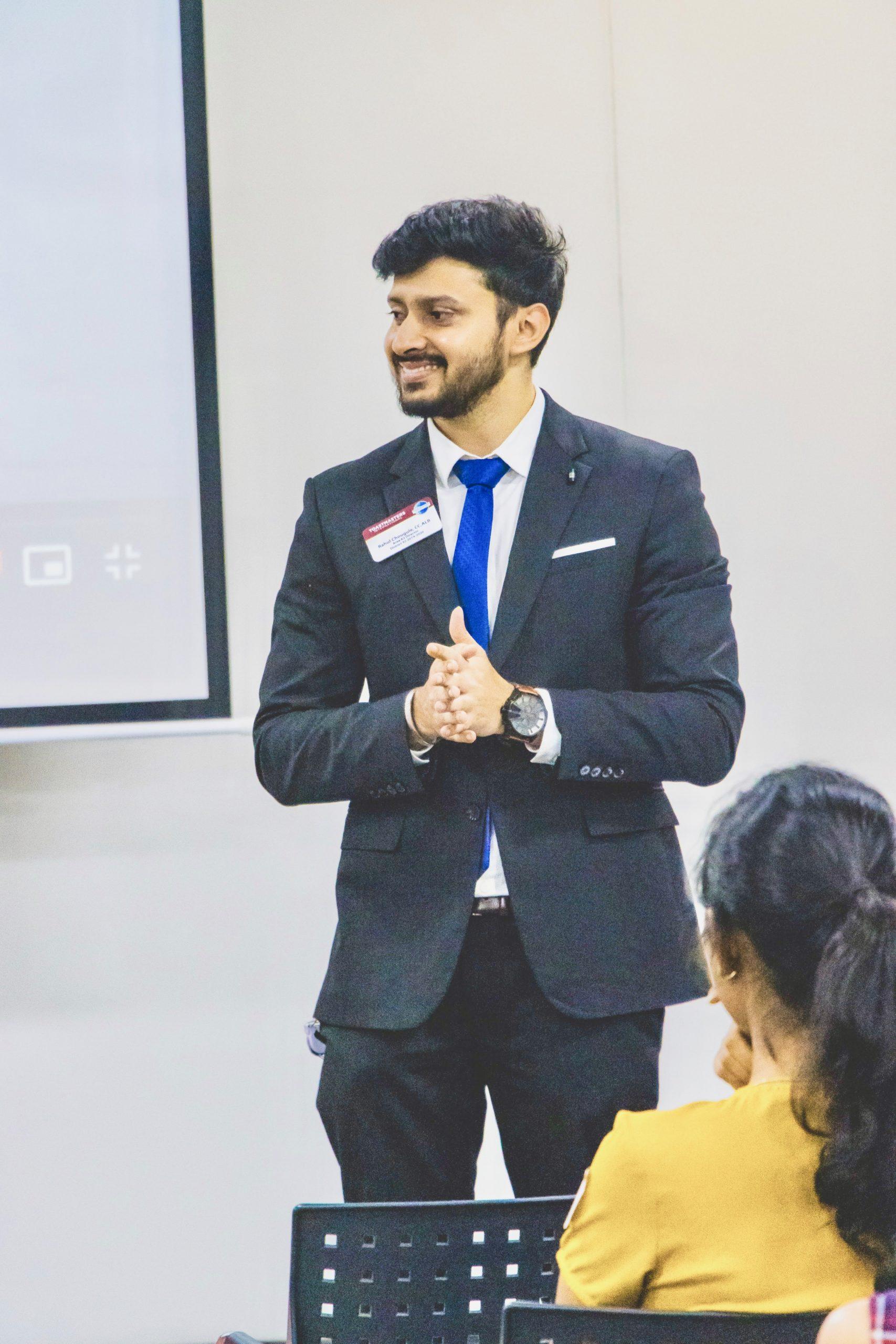 Rahul giving a speech.
