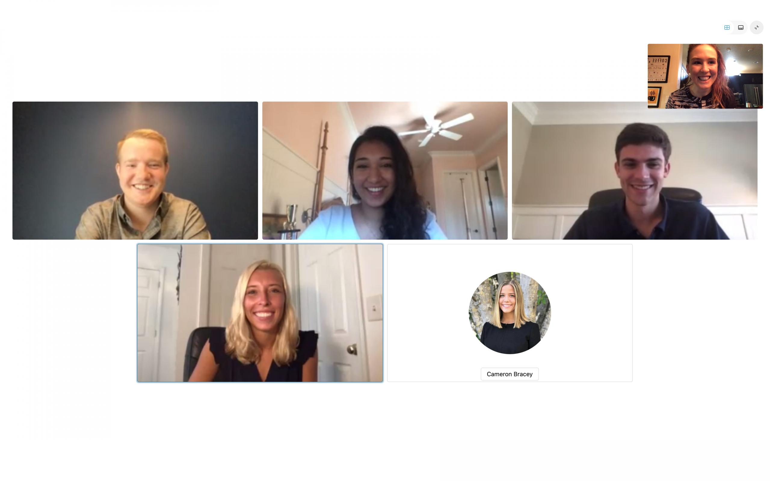 A screenshot of Courtney's peers on a Webex call.