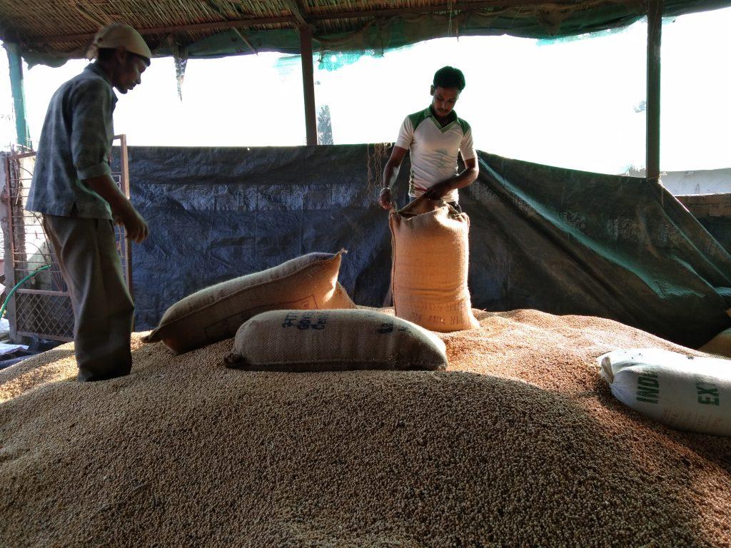 Smallholder farmers storing their produce at a Gramhal warehouse