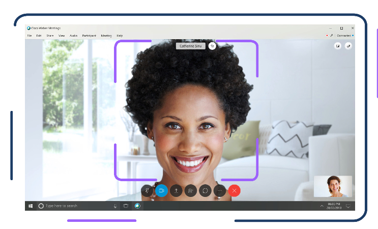 Woman on Webex Meetings smiling