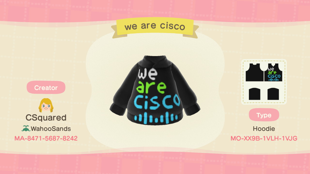 We Are Cisco hoodie design for Animal Crossing.