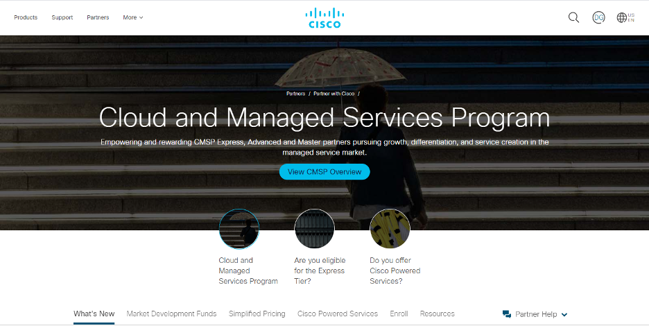 Web page of cloud and Managed Services Program