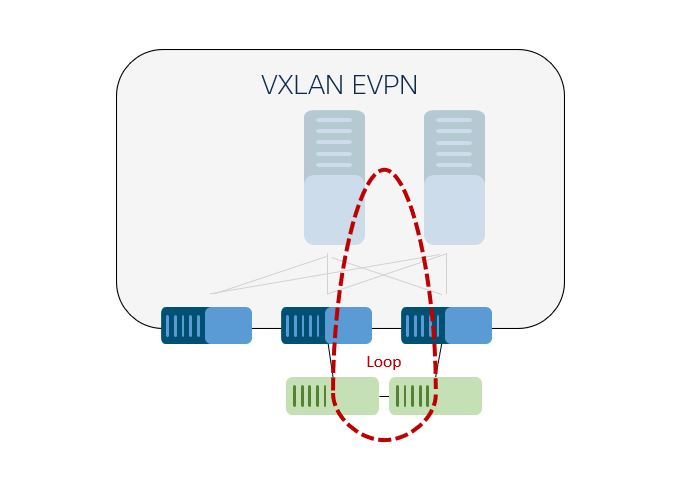 Loop-free VXLAN overlays may be connected to an Ethernet segment that can result in network loops, requiring detection and mediation in conjunction with the overlay.