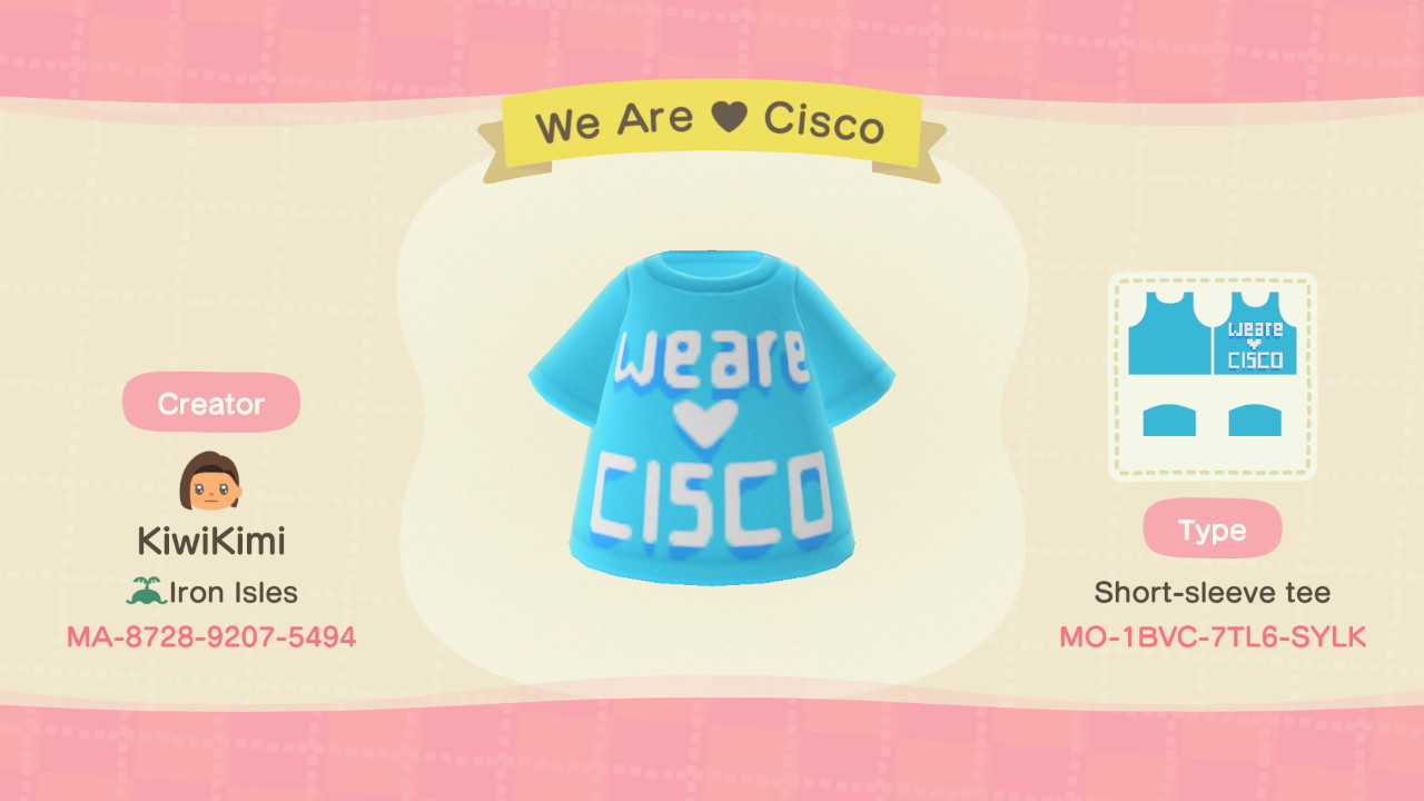 We Are Cisco tshirt design for Animal Crossing.