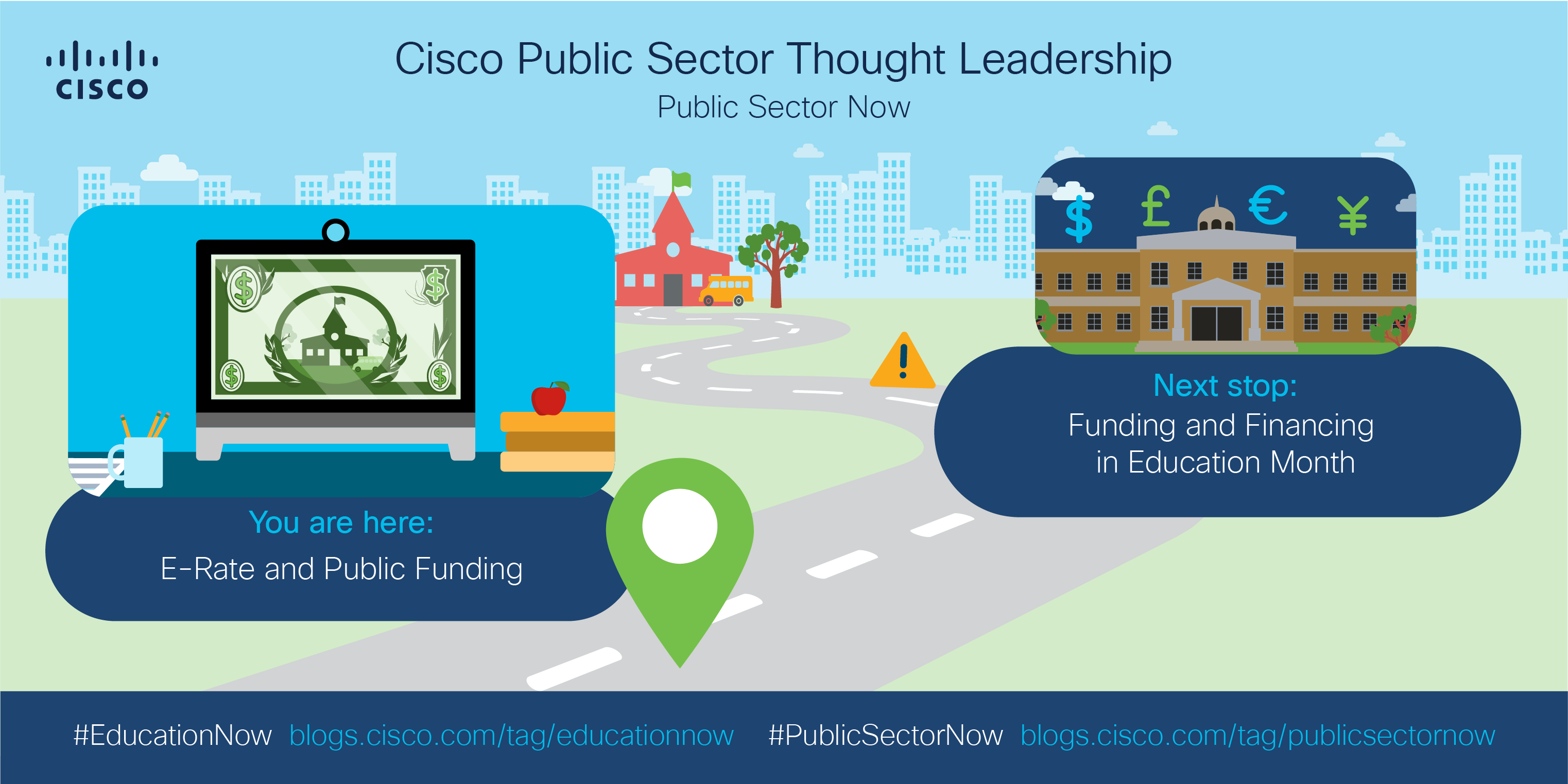 Current stop: E-Rate and Public Founding, Next Stop: Funding and Financing in Education Month