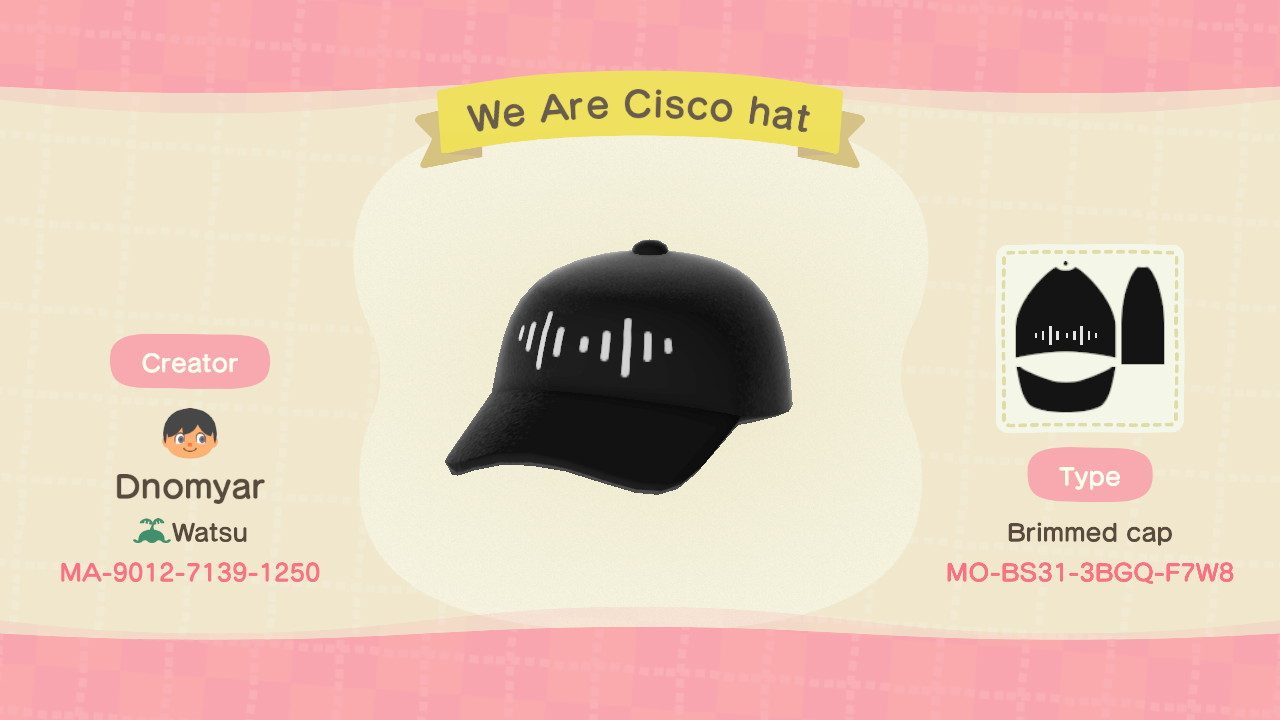 Cisco hat design for Animal Crossing.