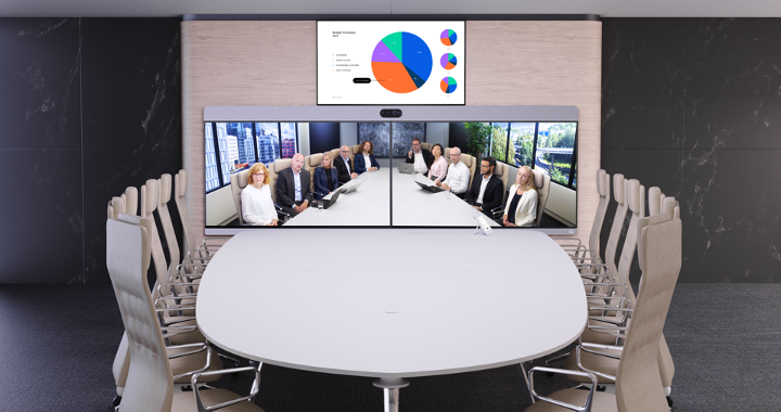 Cisco Room Panorama in conference room with employees on the screen