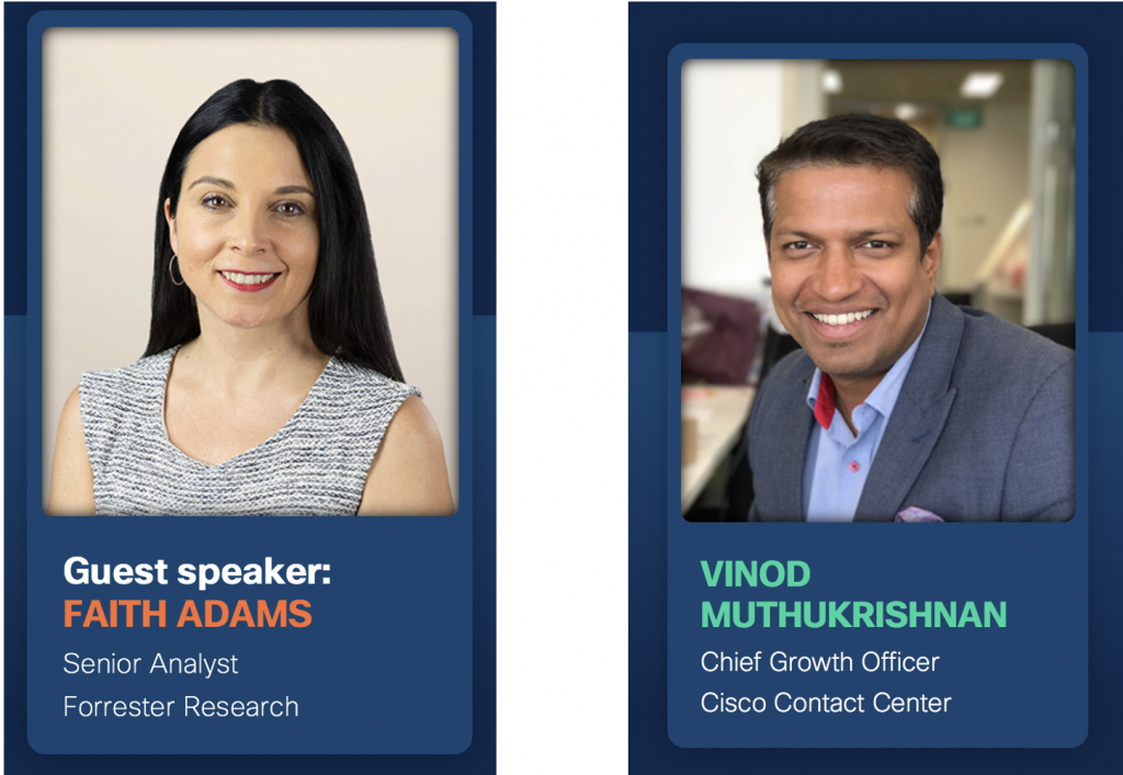 Bio pictures of speakers for a future of work webinar to include Faith Adams Senior Analyst from Forrester Research and Vinod Muthukrishnan at Cisco Contact Center
