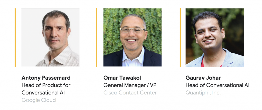 Panelists for the contact center with artificial intelligence including Antony Passemard, Omar Tawakol, and Gaurav Johar