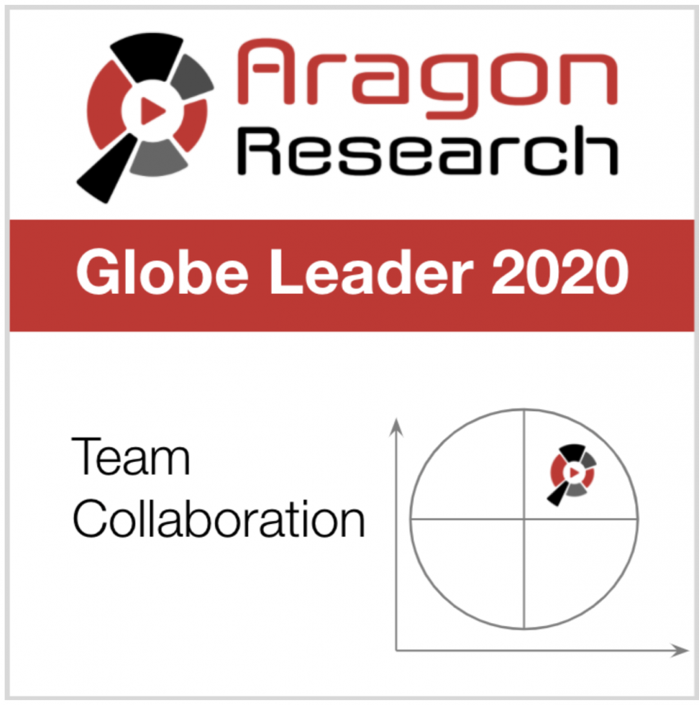 Aragon Research Globe Leader 2020 Team Collaboration badge with red, black, and grey colors
