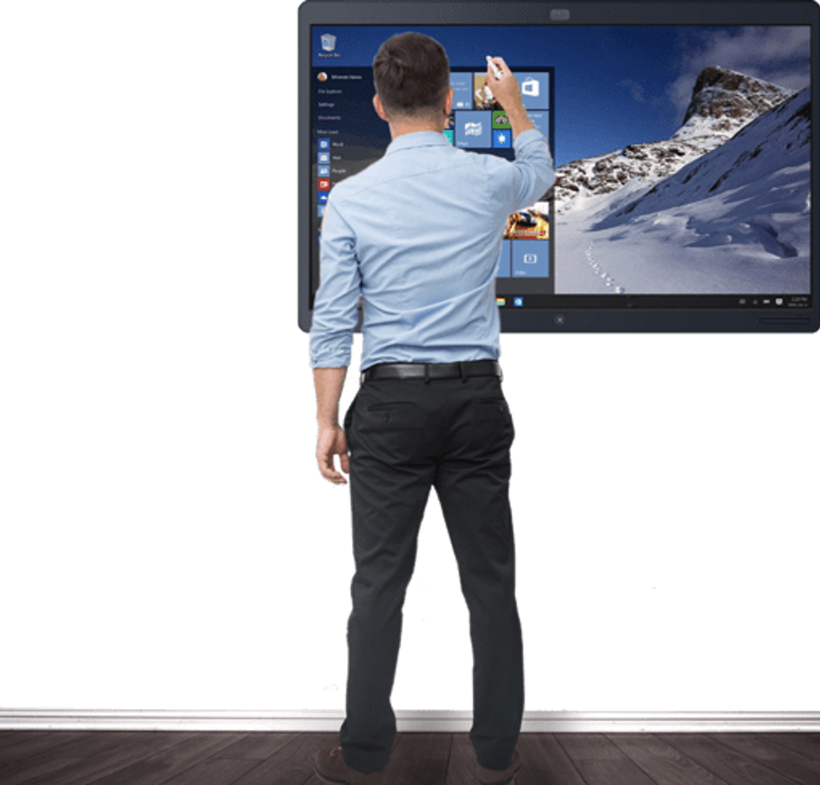 Man using Webex Board Touch-Redirect board through the board's touch interface