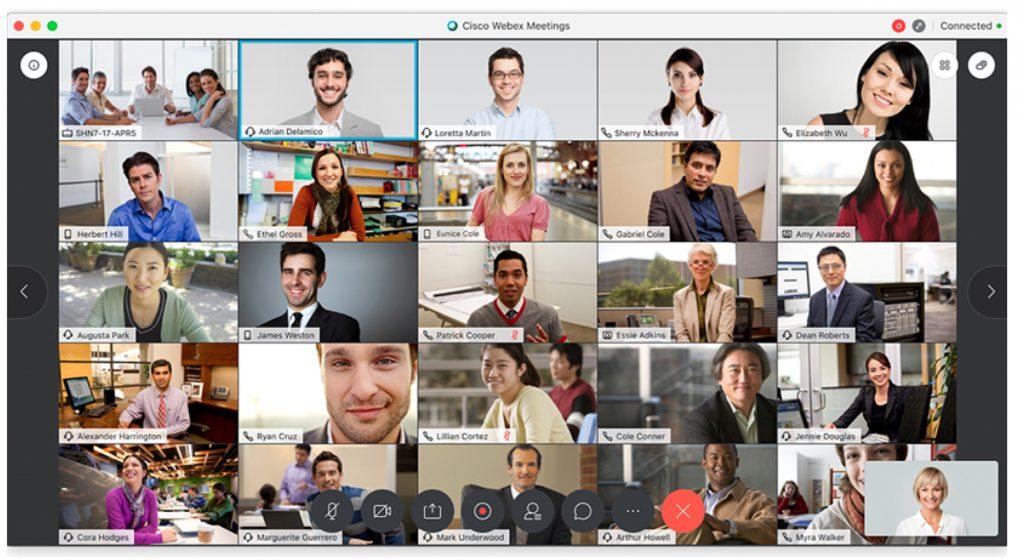 Group of people on a Meetings grid