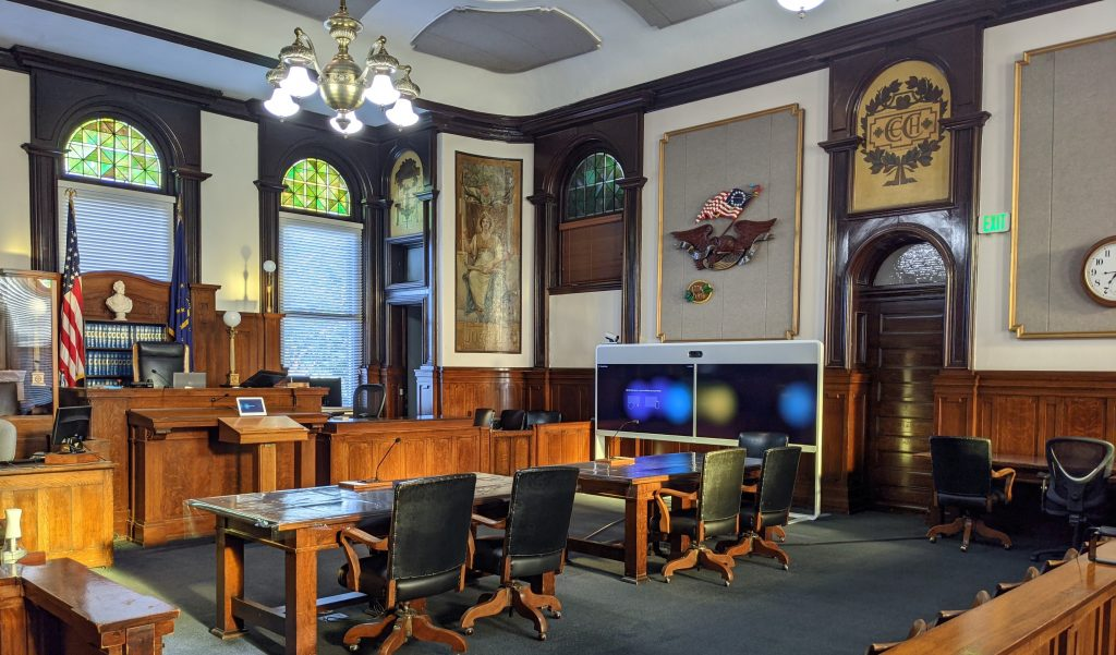 Elkhart County court room with Cisco technology