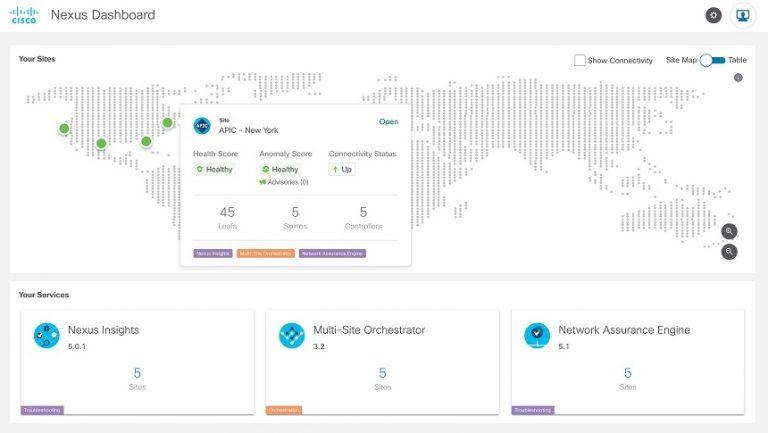 Nexus Dashboard Site Map View