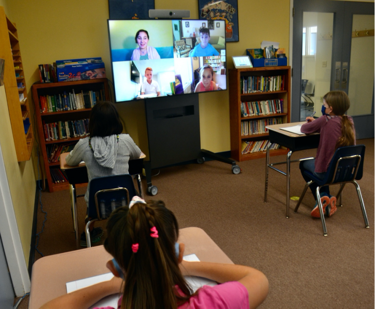 Oak Meadows school using video conferencing