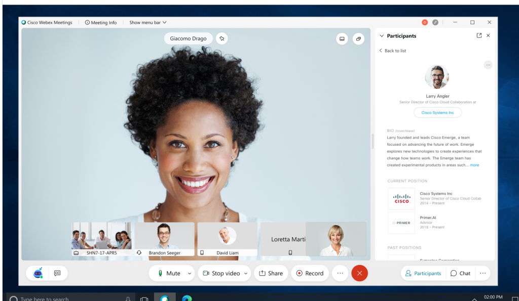 Woman looking at meeting using people insights