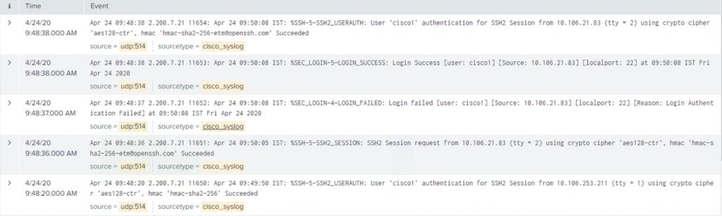 SGACL log example.