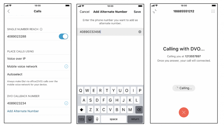 Screenshots of leveraging your mobile cellular network from the Webex app
