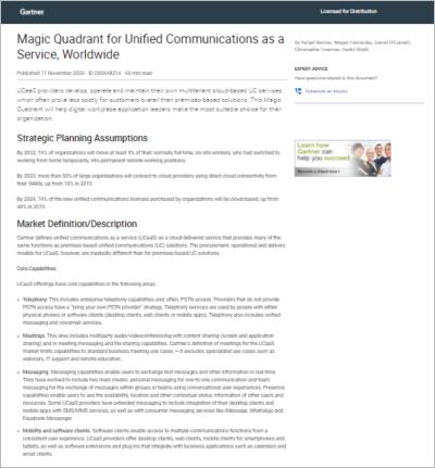 Gartner, Magic Quadrant for Unified Communications as a Service, Worldwide