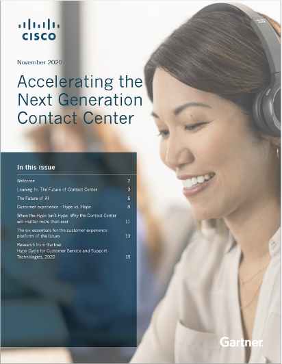 accelerating the next generation contact center borchure with woman wearing Cisco Headsets