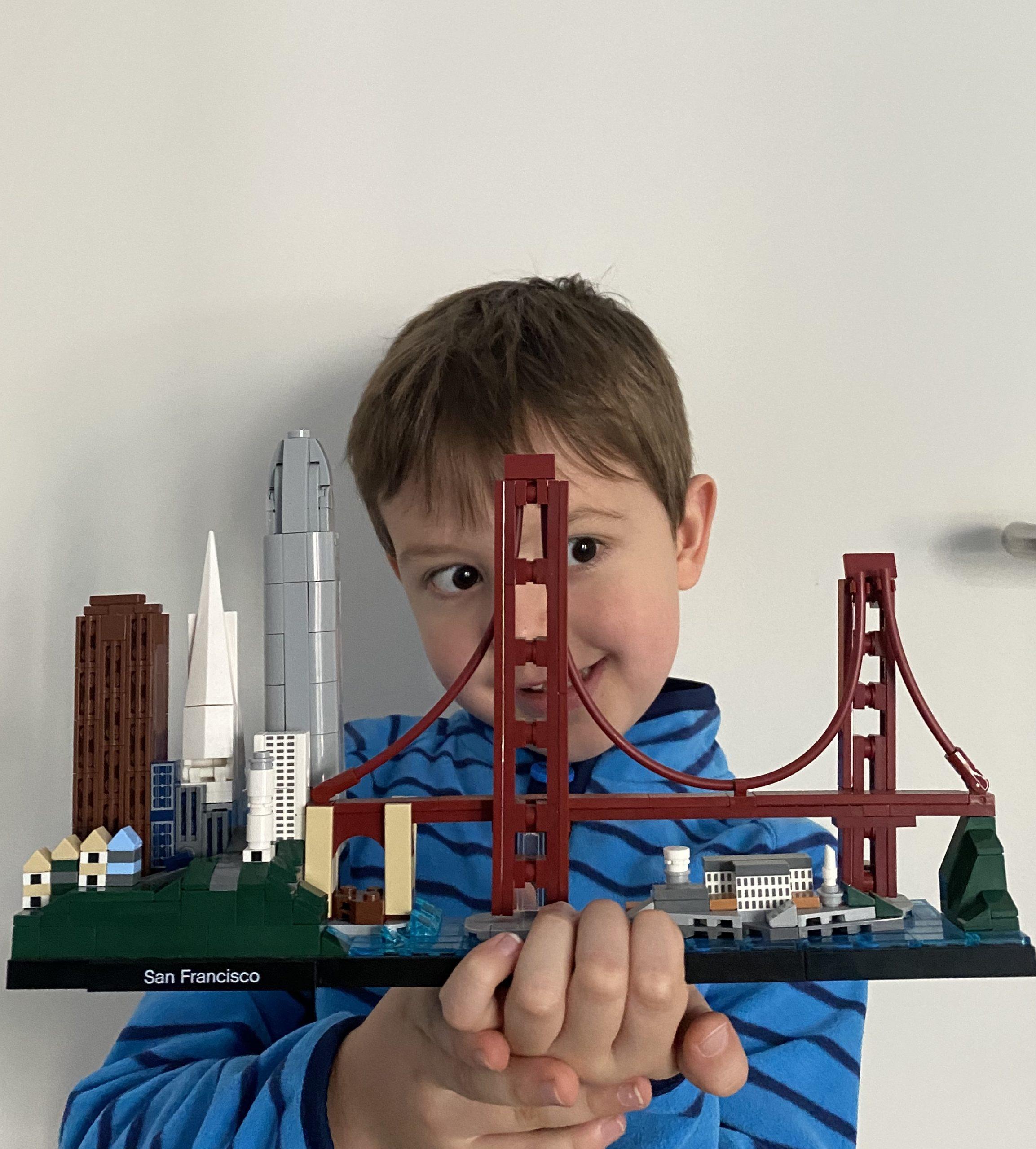 Nadja's son with San Francisco legos.