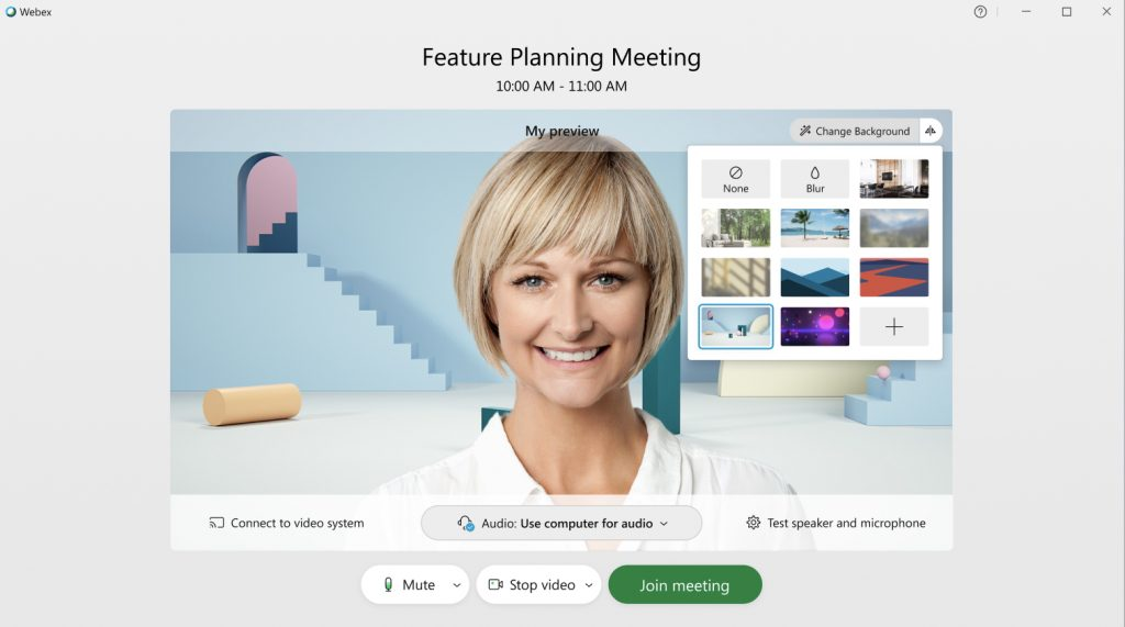 Woman on Meeting using customized background