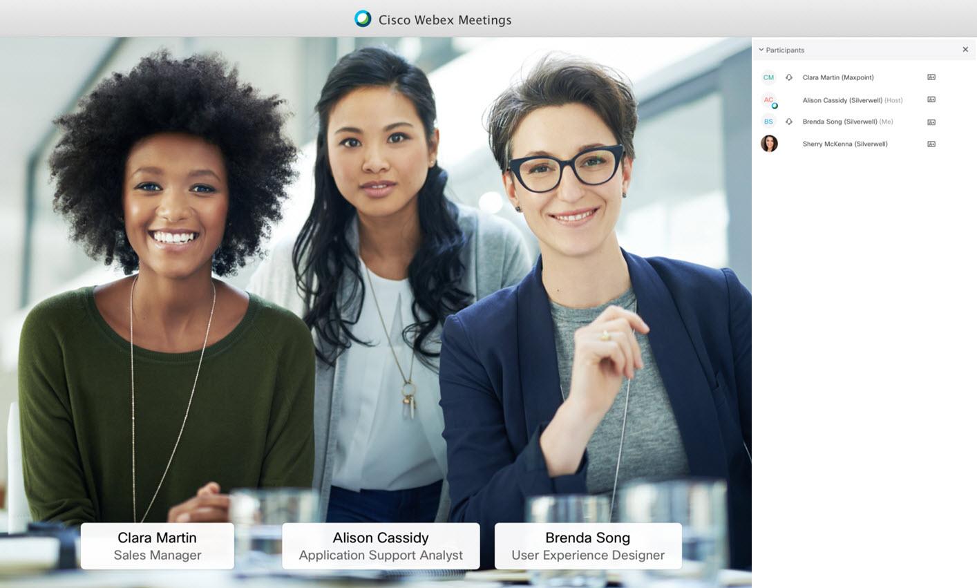 three diverse women in a Webex Meeting