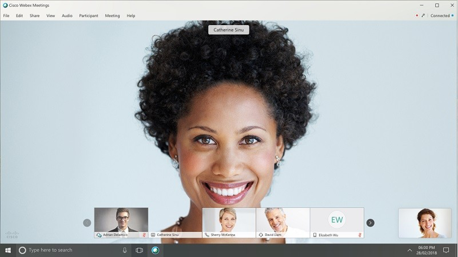 young woman on the screen with other colleagues on Webex Meetings