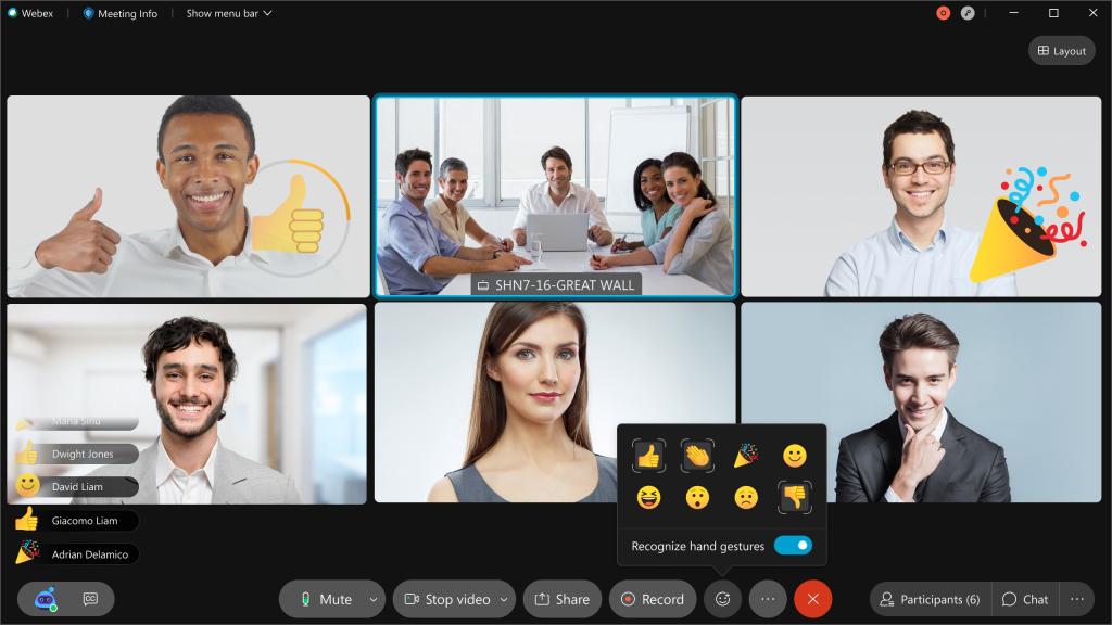 Reactions and gestures in Meetings