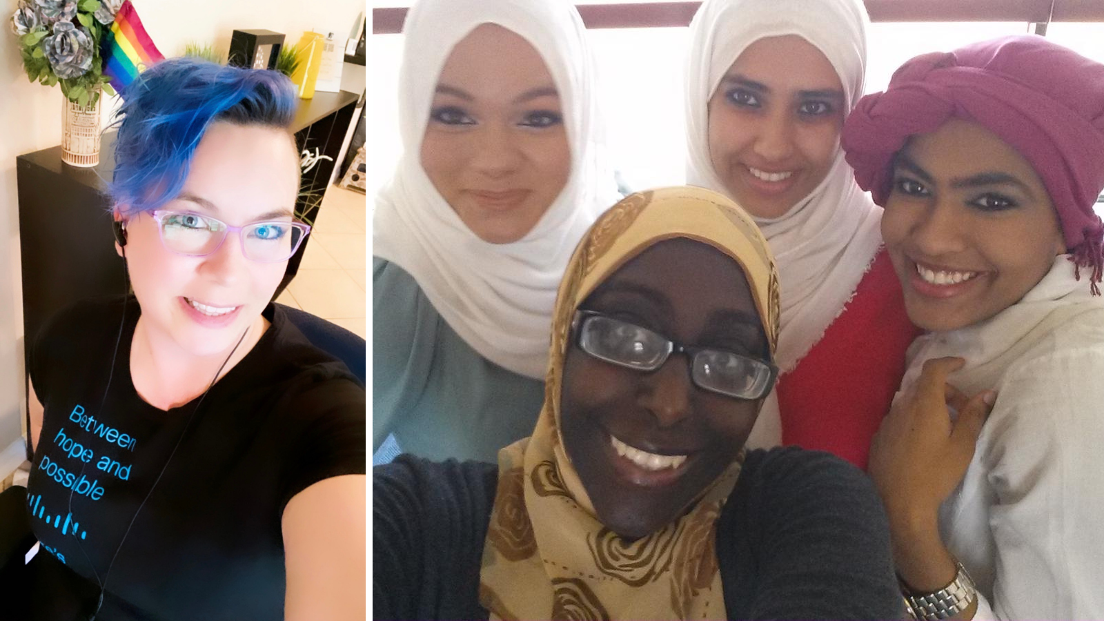 Collage of woman with purple hair and Pride flag and four women in Hijabs.