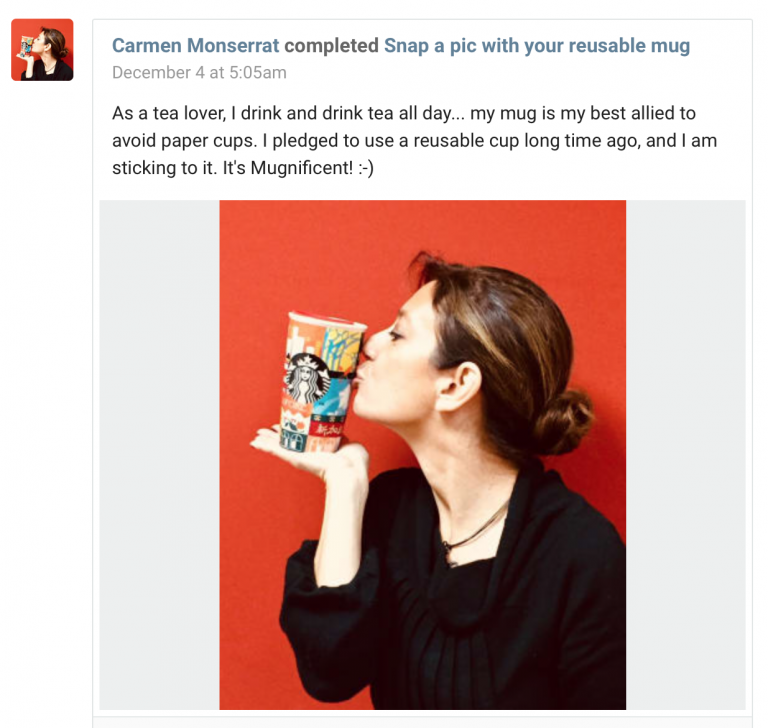 A Cisco employee kissing a mug