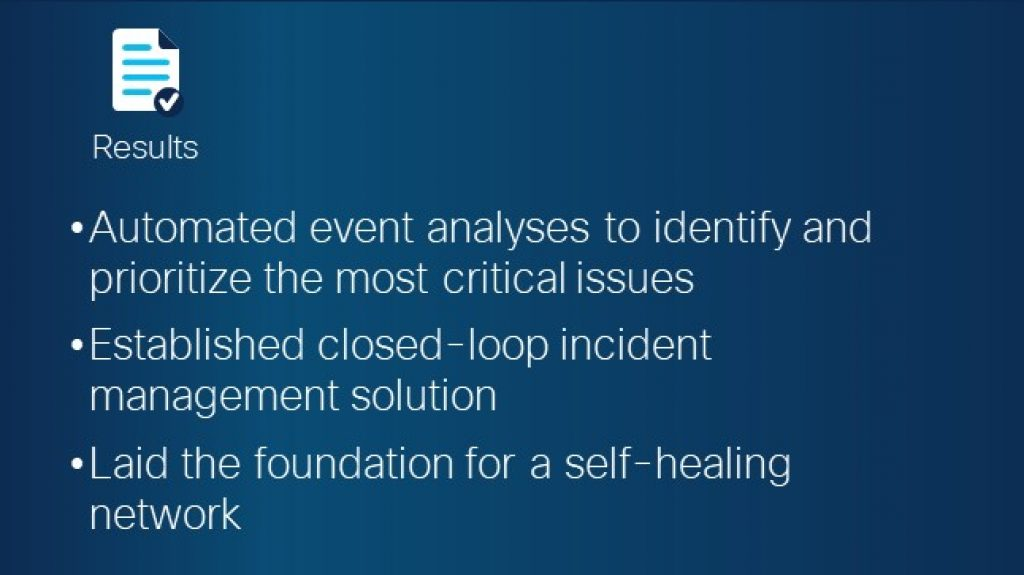 Results: Automated event Analyses to prioritize critical issues; Established closed-loop incident management solution; laid foundation for self-training network