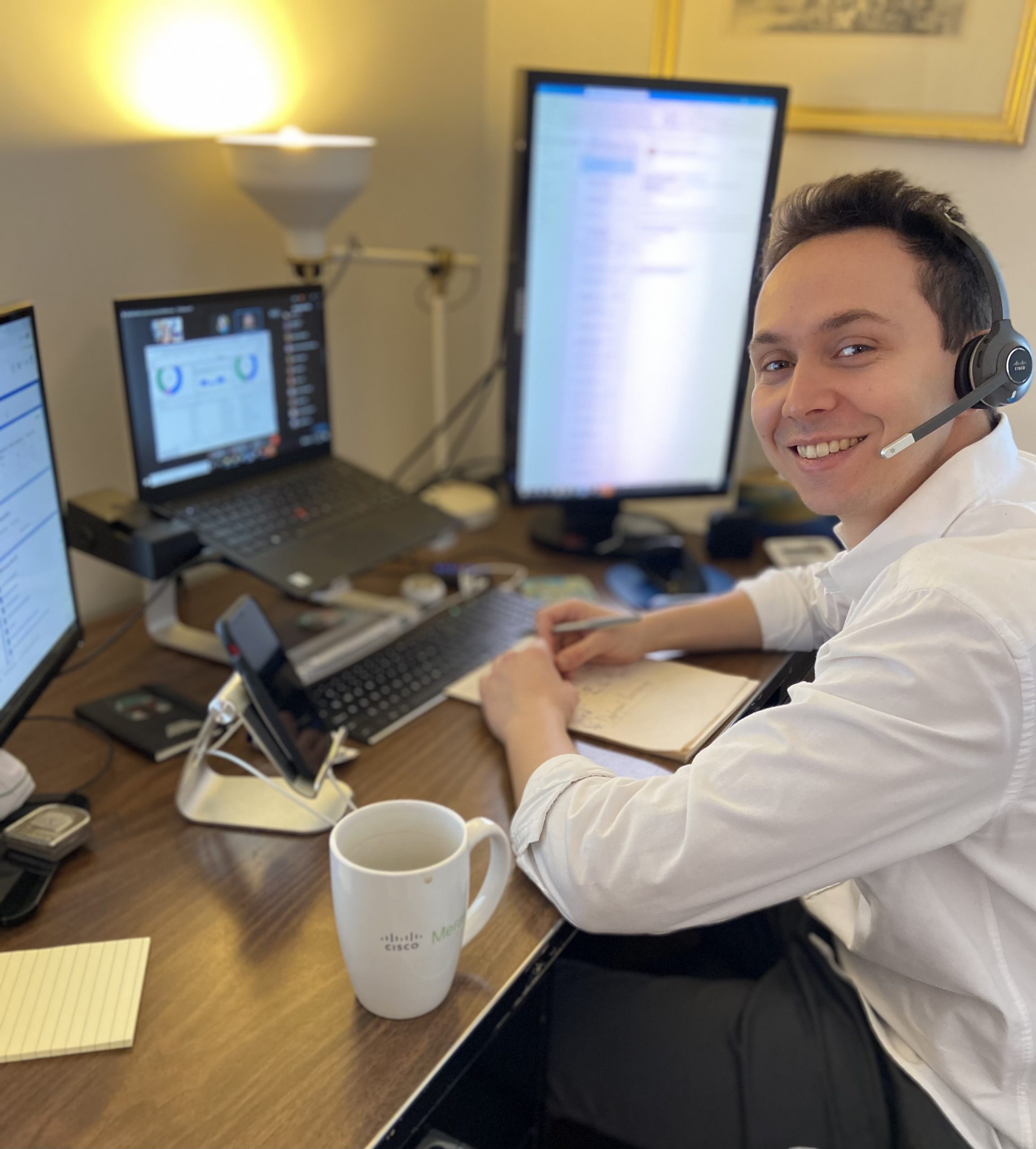Sten working at desk