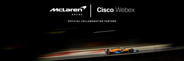 Cisco Webex and McLaren Racing and Official Partners and racecar