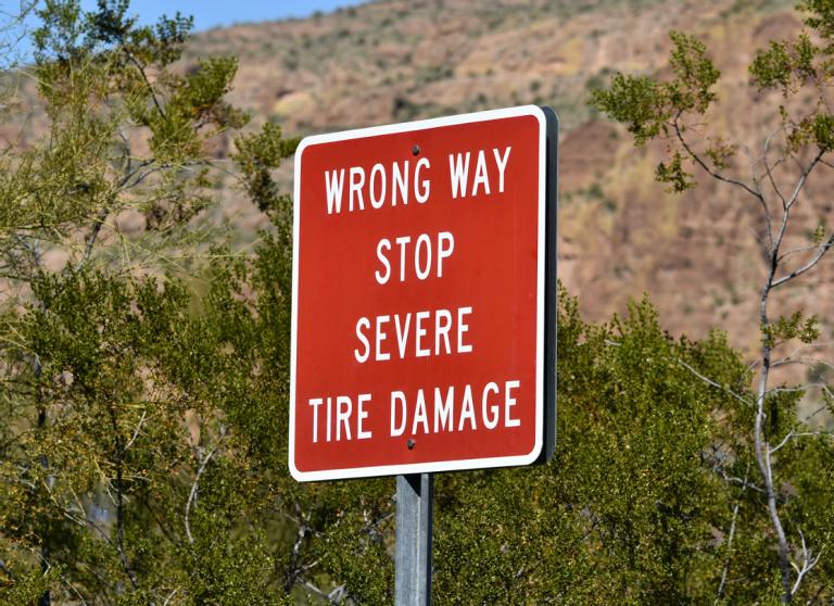 Wrong Way Stop Severe Tire Damage