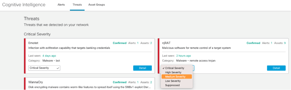Users can both change the severity levels of threats and rank high-priority asset groups from within the global threat alerts portal.