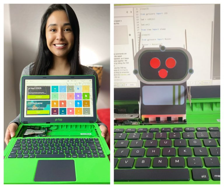 A student shows off her pi-top laptop and robot she created