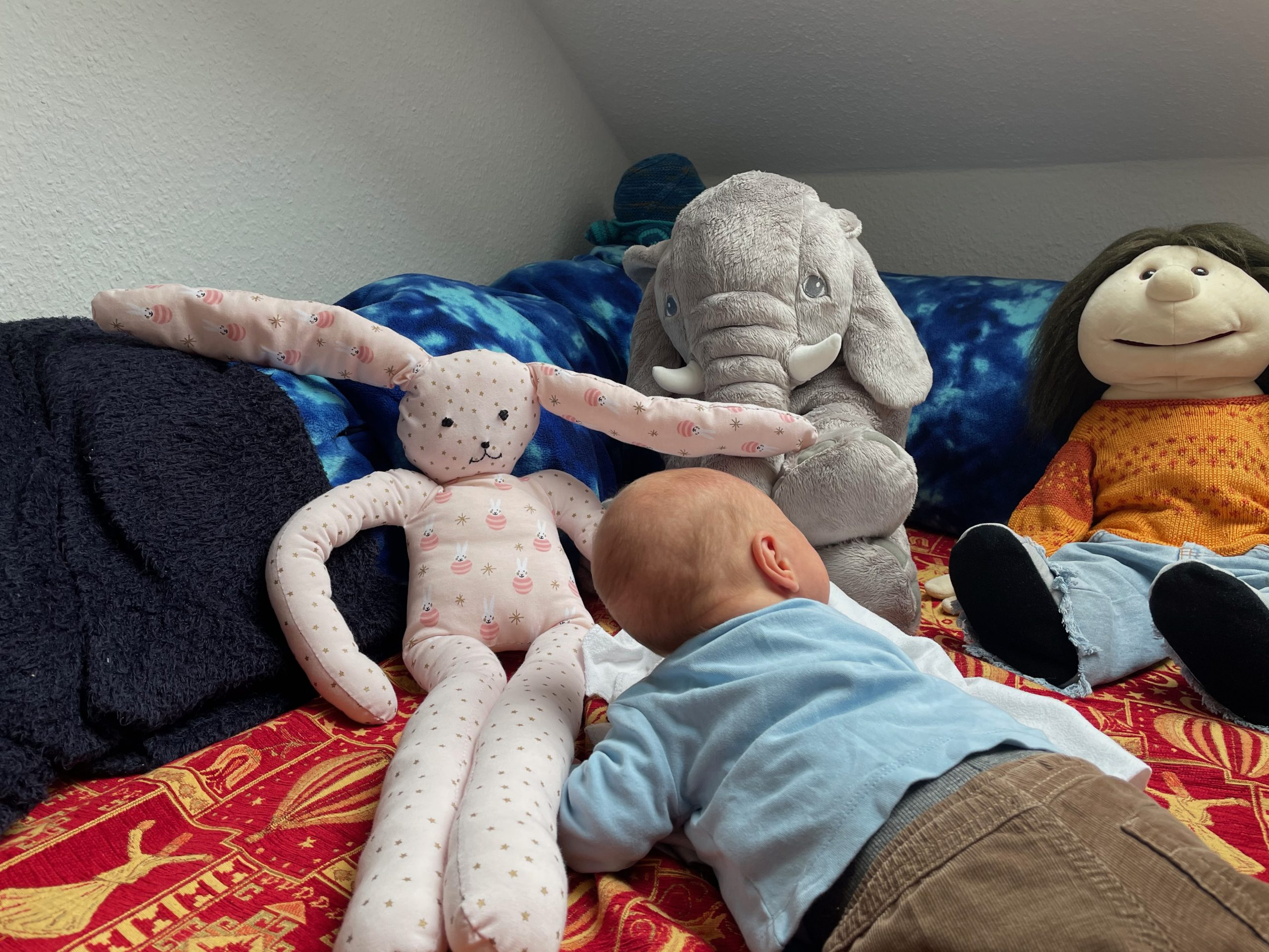 Philipp's baby laying with stuffed animals