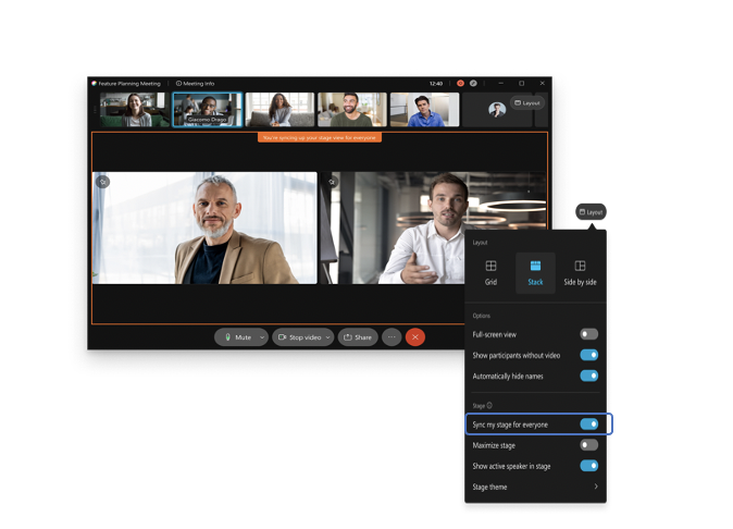business colleagues using Webex custom layouts