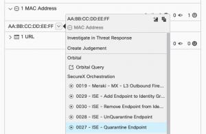 A screenshot of the SecureX pivot menu showing Cisco ISE response actions