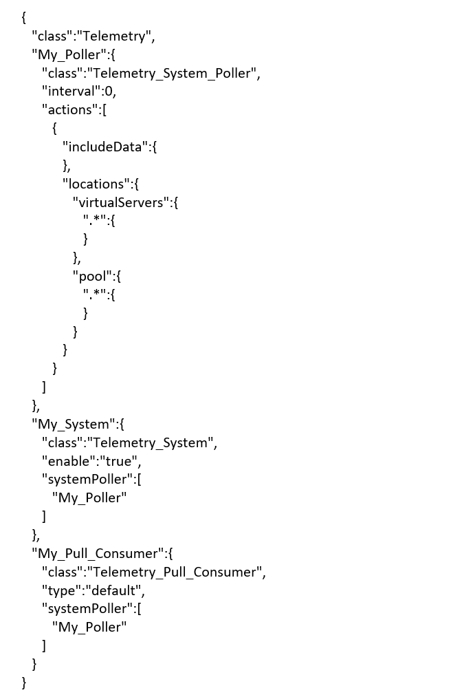 Code to configure the TS consumer on the BIG-IP which the ServiceCenter will poll. Use a tool like POSTMAN or Curl to POST the API to the BIG-IP.