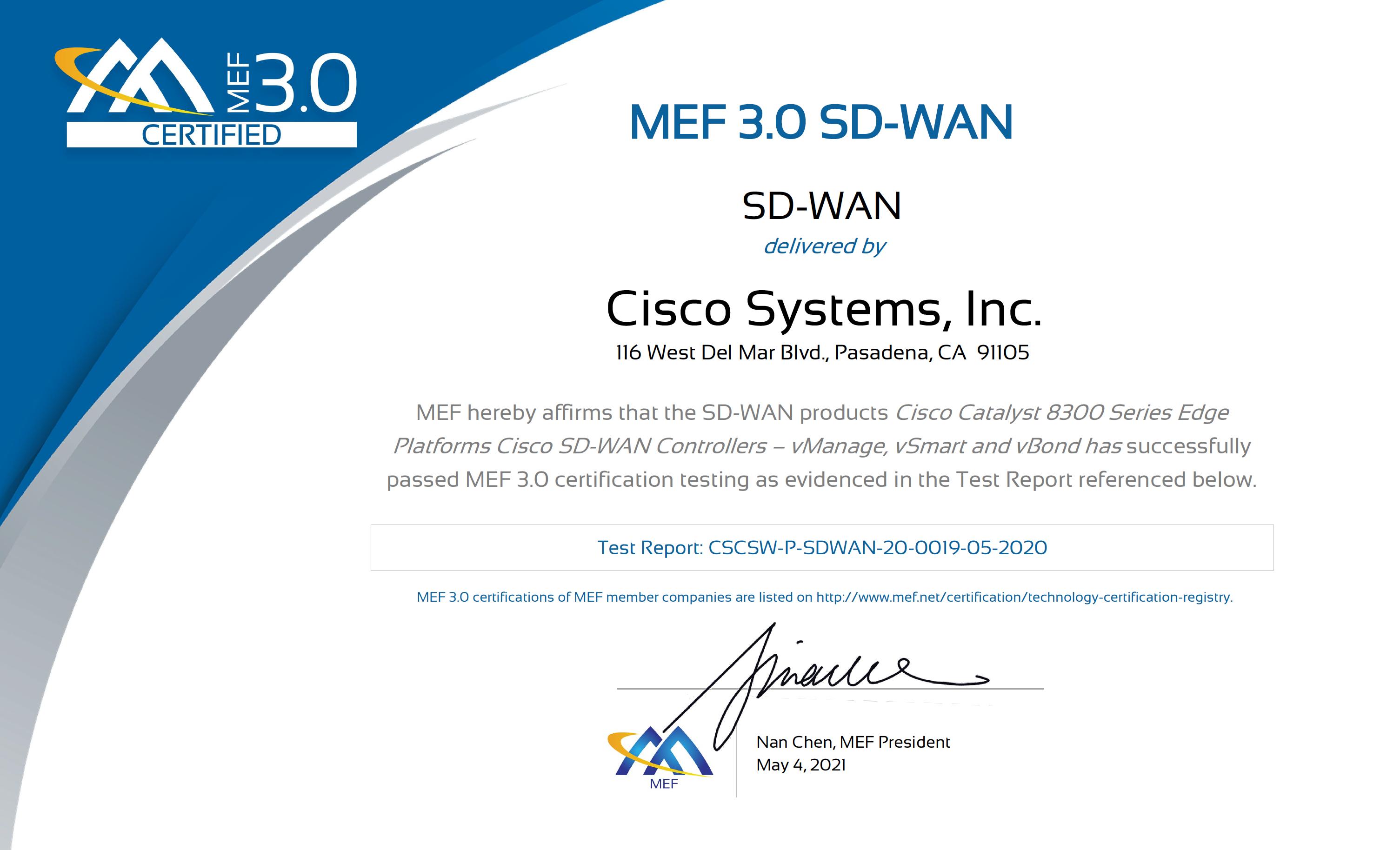 MEF 3.0 SD-WAN Certificate - Cisco Certification