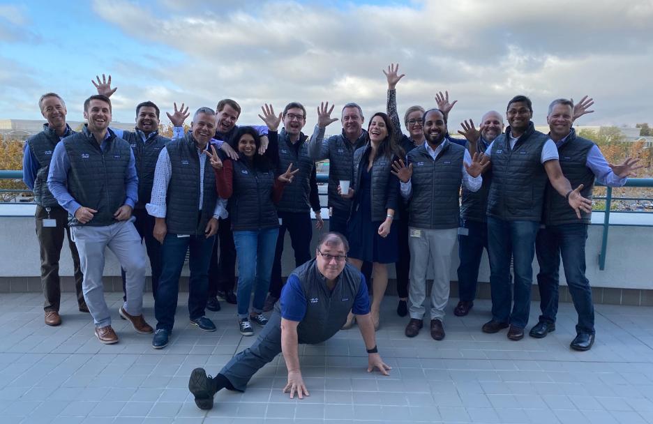 Anjana and team posing at Cisco HQ building