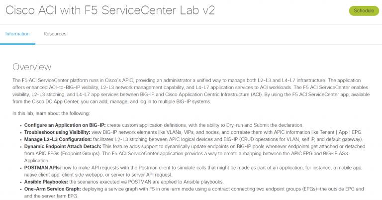 Overview of Cisco ACI with F5 ServiceCenter Lab v2 - Screenshot