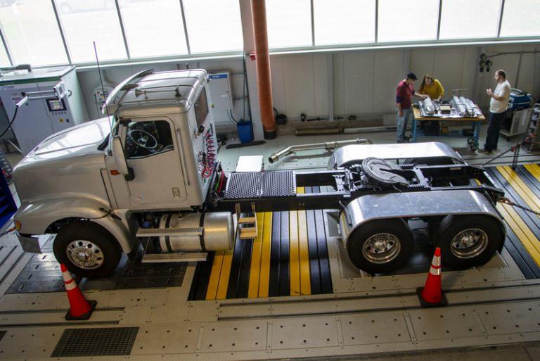 A semi-truck in a garage