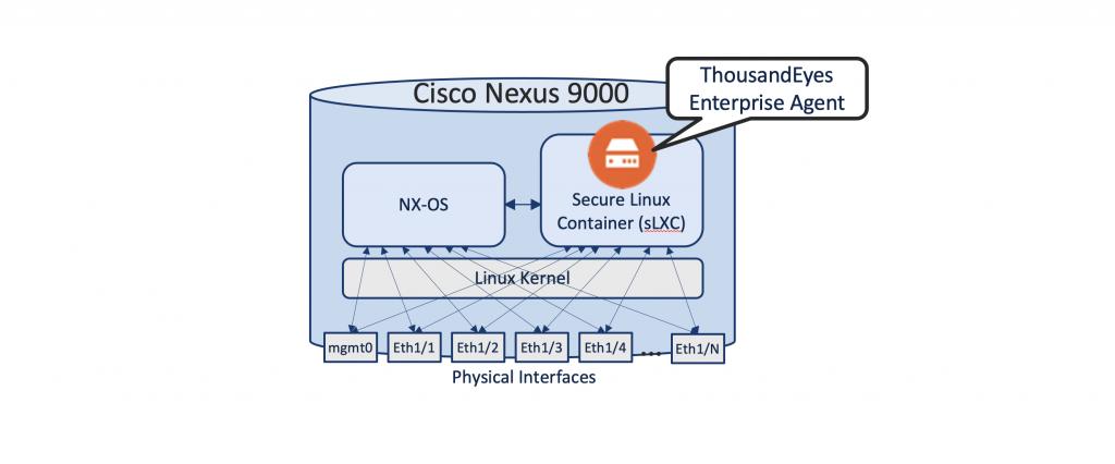 Figure 3 ThousandEyes Enterprise Agent hosting in Cisco Nexus 9000 (NX-OS)